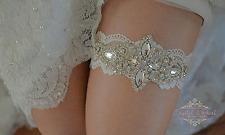 Paige Vintage De Lujo Cristal para Boda Liga Marfil Encaje Novia Diamante de Imitación de Diamante
