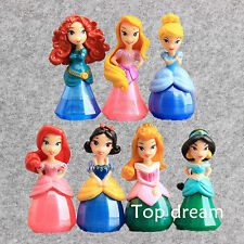 7X Princesses Exquisite Action Figures Toy Doll Cake Toppers Set 7cm Girls Gift