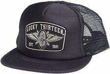 Lucky 13 Speedster Winged Wheel Tattoo Skull Goth Foam Mesh Trucker Hat Cap