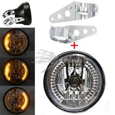 "8"" Motorcycle Headlight Integrated Turn Signal & 2x Chrome Mount Brackets Custom"
