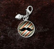 925 Sterling Silver Charm Old Timey Moustache Sir Barbershop Barber