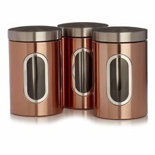 Copper Tea Coffee Sugar Canisters Storage Jar Set 3