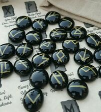 Custom Black&Gold Nordic Rune set w/pouch&guide Wicca divination pagan cleansed
