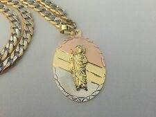 St Jude Gold Plated Three Tone Pendant with Two Tone Stainless Steel Necklace