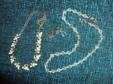 VINTAGE JEWLERY LOT OF 3 -2 NECKLACES 1PR EARRINGS CRYSTAL AND FAUX PEARLS AS IS