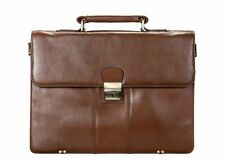 Visconti 01775 Qlty Leather Classic Brown Business Case Briefcase Messenger Bag