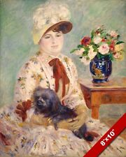 AUGUSTE RENOIR PAINTING OF WOMAN & HER DOG FRENCH 1883 ART REAL CANVAS PRINT