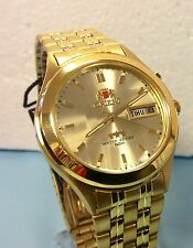 RELOJ ORIENT WATCH  MEN'S AUTOMATIC MECHANICAL WATCH  GOLD TONE GOLD  DIAL W BOX