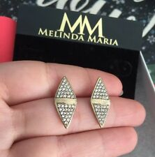 "Melinda Maria earrings 0.8"" Chloe' Double Pave Stud "" 100% Authentic NEW $118"