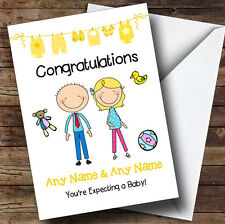 Blonde Mum To Be Congratulations Expecting A Baby Personalised Pregnancy Card