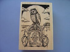 STAMPENDOUS RUBBER STAMPS TOMBSTONE OWL HALLOWEEN STAMP 2014