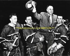 MAURICE RICHARD w/MOORE & GEOFFRION Lift COACH Toe BLAKE 8x10 CANADIENS WIN CUP