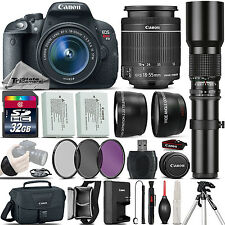 Canon EOS Rebel T5i SLR Camera 700D + 18-55mm IS + 500mm 4 Lens Kit - 32GB Kit