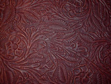 "Dark Brown Western Floral Cowhide Leather Scraps 7""x14"" avg 1.3mm thick #8"
