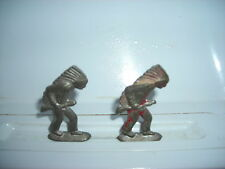 Old  Antique Vintage Native American Figurines With Head Dress & Rifle