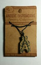 KINDRED SPIRIT TWIN SYMBOL ANCIENT INSPIRATIONS ADJ WOOD TRIBAL NECKLACE NEW