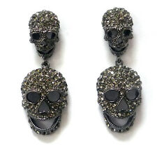 Butler and Wilson Pewter Crystal Double Skull Earrings NEW LAST 2