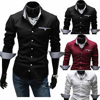 Men's Button Down Formal Dress Shirt Designer Casual Slim-Fit Luxury Tee Shirts