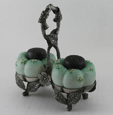 Antique Mount. Washington Melon Design Salt & Pepper in Holder