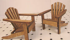 Dollhouse Furniture Lawn Chair 2 Wood Adirondack Walnut Chairs Beach Chairs