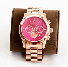 MICHAEL KORS Chronograph RANWAY Pink Dial Rose Gold Tone Women's Watch MK5931