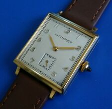 Exquisite 1950s Vintage Mans WITTNAUER Hand Winding Stunning Silver Tone Dial