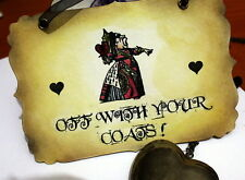 OFF WITH YOUR COATS -Vintage Alice in Wonderland Sign- Decoration