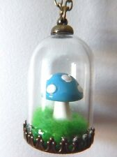 BLUE MAGIC MUSHROOM TERRARIUM GLASS JAR NECKLACE toadstool kitschy pendant H4