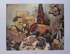 Charles Bragg THE DRAFT BOARD Facsimile Signed 1970 Color Lithograph