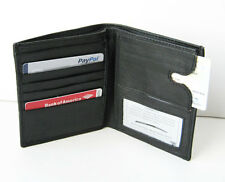 BLACK MEN's LEATHER BIFOLD Hipster WALLET Pull-Out CARD HOLDER 745