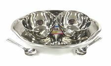 5 PC OVAL Stainless STEEL RELISH PICKLE CHUTNEY SERVING DISH BOWLS THALI SPOONS