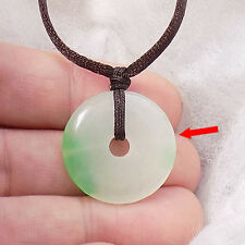 Chinese Little Green donut jade pendant necklace US SELLER