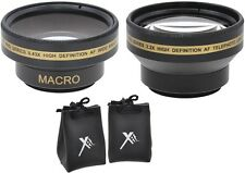 2PC LENS KIT HD WIDE ANGLE & 2.2x TELEPHOTO LENS SET FOR SONY DCR-SX45