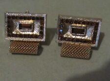 Men Vintage FACETED AMBER MESH CUFFLINKS Wrap Around Jewelry MM21
