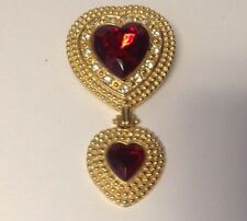 Vintage Victoria's Secret Gold tone Double Red Heart Dangle Brooch/Pin