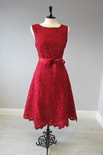 PHASE EIGHT FABIA LACE FIT AND FLARE DRESS - SIZE 12 - RED