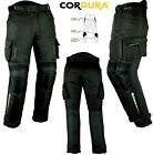 BLACK CARGO STYLE MENS VENT CE ARMOUR MOTORBIKE / MOTORCYCLE TEXTILE TROUSERS