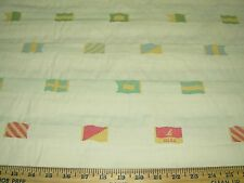 """~2 3/8 YDS~NAUTICAL  """"FLAGS""""~EMBROIDERED UPHOLSTERY FABRIC FOR LESS~"""