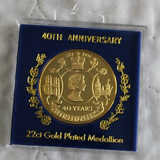 QEII 1992 40th ANNIVERSARY OF ACCESSION 38mm 22ct GOLD PLATED PROOF MEDAL -cased