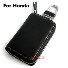 Genuine Leather Car Key Holder Keychain Ring Honda Case Black For All Honda