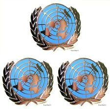 U.N United Nations  Peacekeeping Silver Plated Lapel Pin Lot Of 3