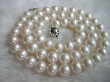 """New 7-8 mm Natural White Akoya Freshwater Pearl Necklace 18"""" AAA++++++++"""