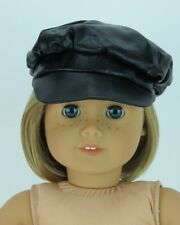 """Black Faux Leather Hat Cap fits 18"""" American Girl Boy Doll Clothes"""