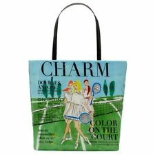 "KATE SPADE NEW YORK CHARM TENNIS MAGAZINE BON"" SHOPPER TOTE BAG COATED POPLIN"