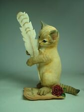 Country Artist Love Story Cat w Feather Figurine 02225 w Box 2005 edition.