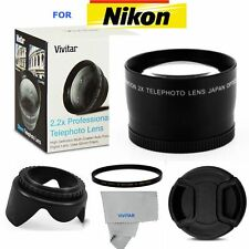 2X TELEPHOTO +UV FILTER+HOOD + CAP FOR NIKON D60 D80 D90 D5500 D5300 D5000 D40