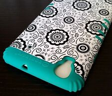 For ZTE Boost Max N9520 - HARD & SOFT RUBBER HYBRID CASE TURQUOISE GREEN FLOWERS