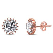 Rose Gold Plated Cz Solitaire  .925 Sterling Silver Earrings