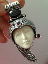 LARGE CARVED FACE STERLING SILVER PENDANT 27 GRAMS