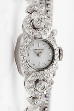 Antique 1950s $10K 4ct VS G Diamond Hamilton Ladies Platinum Watch NICE!!!  30g
